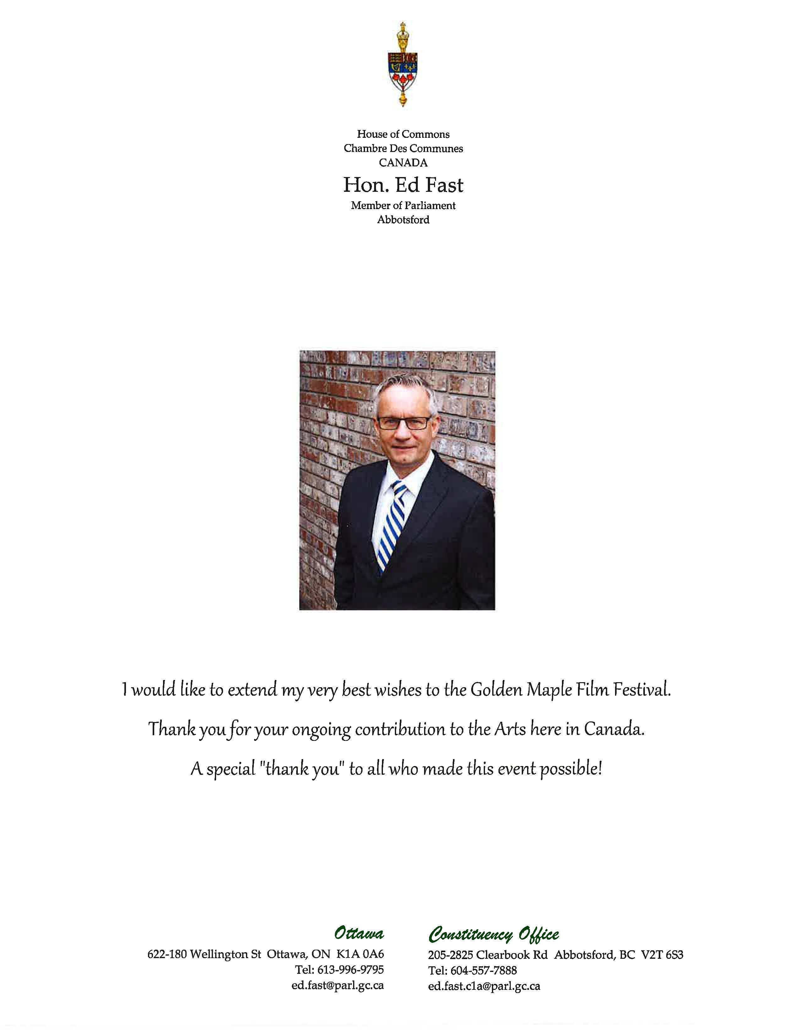 Congratulatory Letter from Ed Fast, Federal Member of Parliament