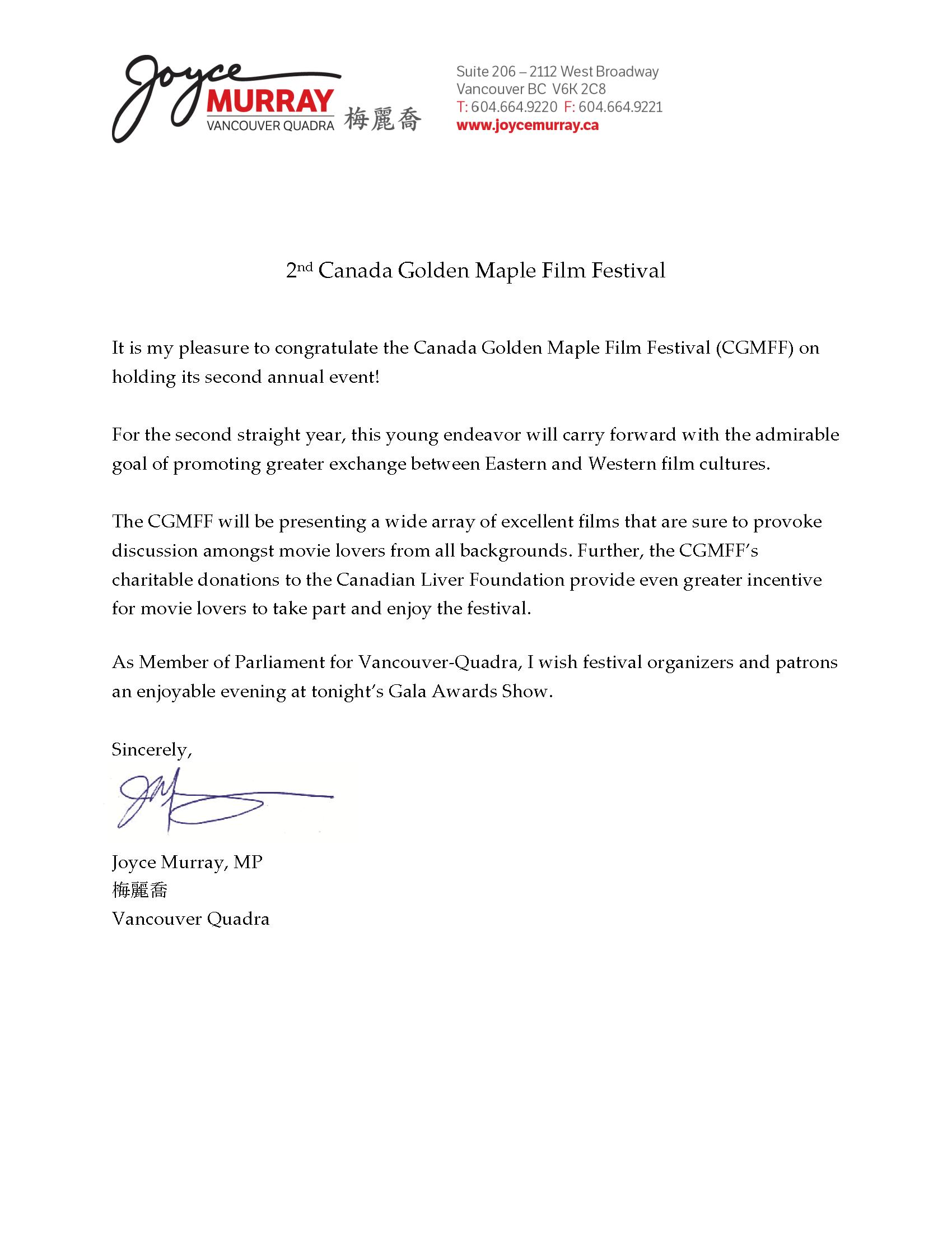 Congratulatory Letter from Joyce Murray, Federal Member of Parliament