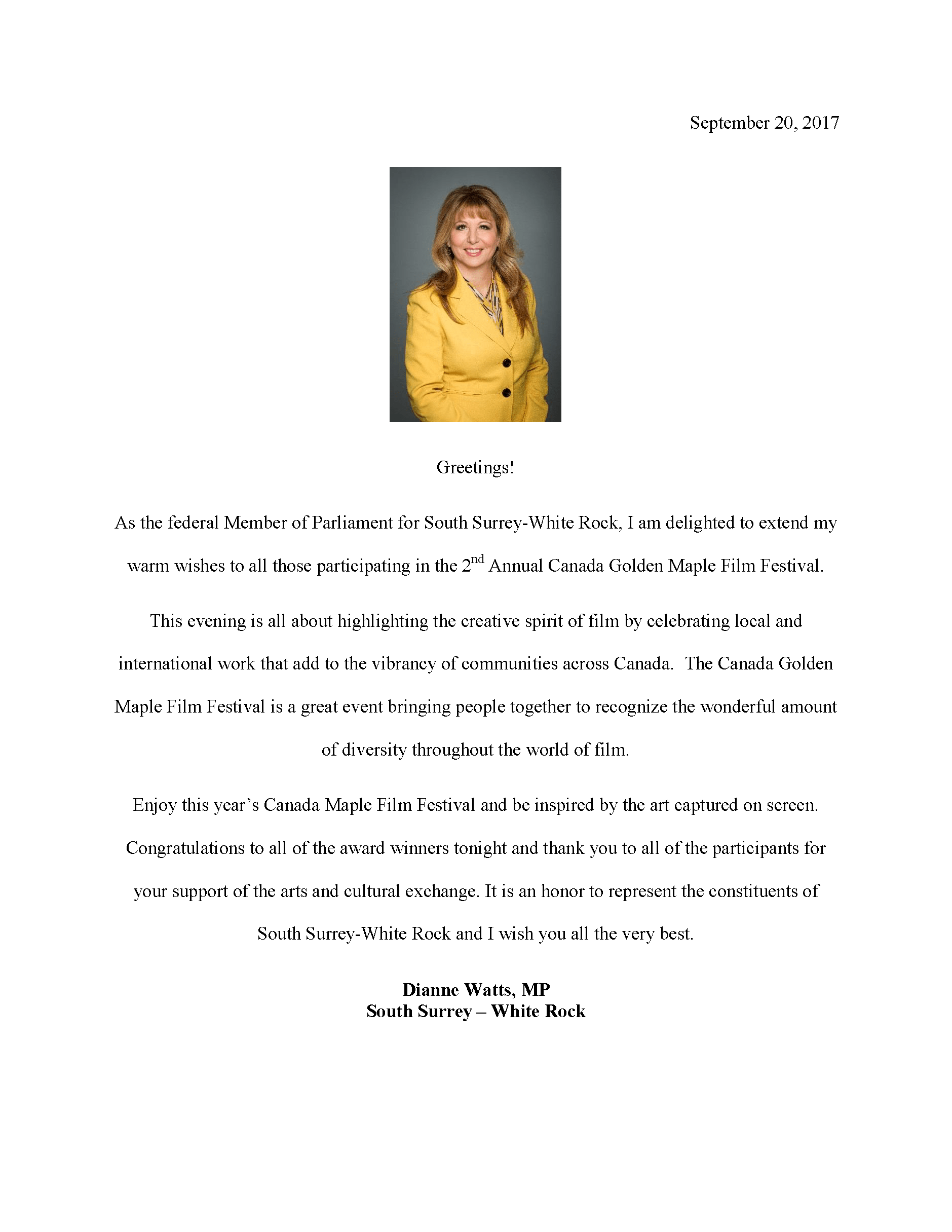 Congratulatory Letter from Dianne Watts, Federal Member of Parliament