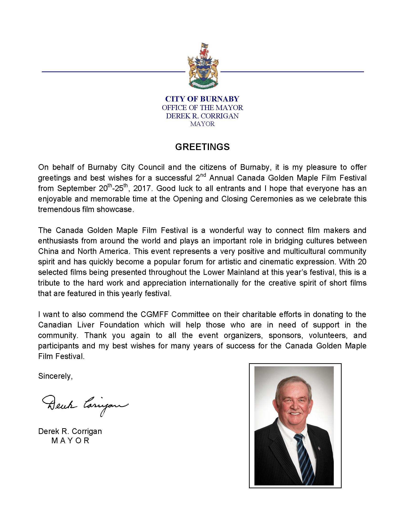 Congratulatory Letter from Derek R. Corrigan, Mayor of Burnaby