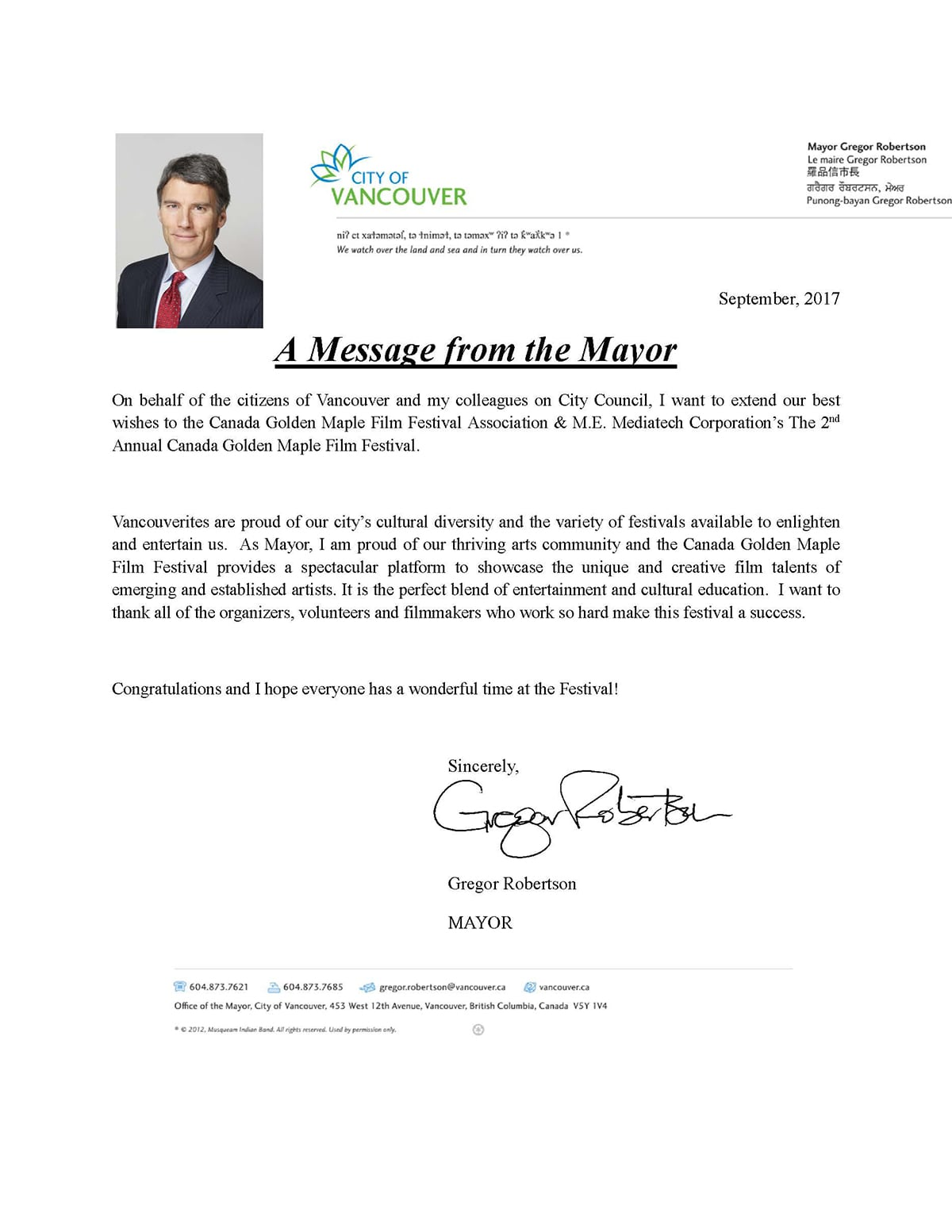 Congratulatory Letter from Gregor Robertson, Mayor of Vancouver