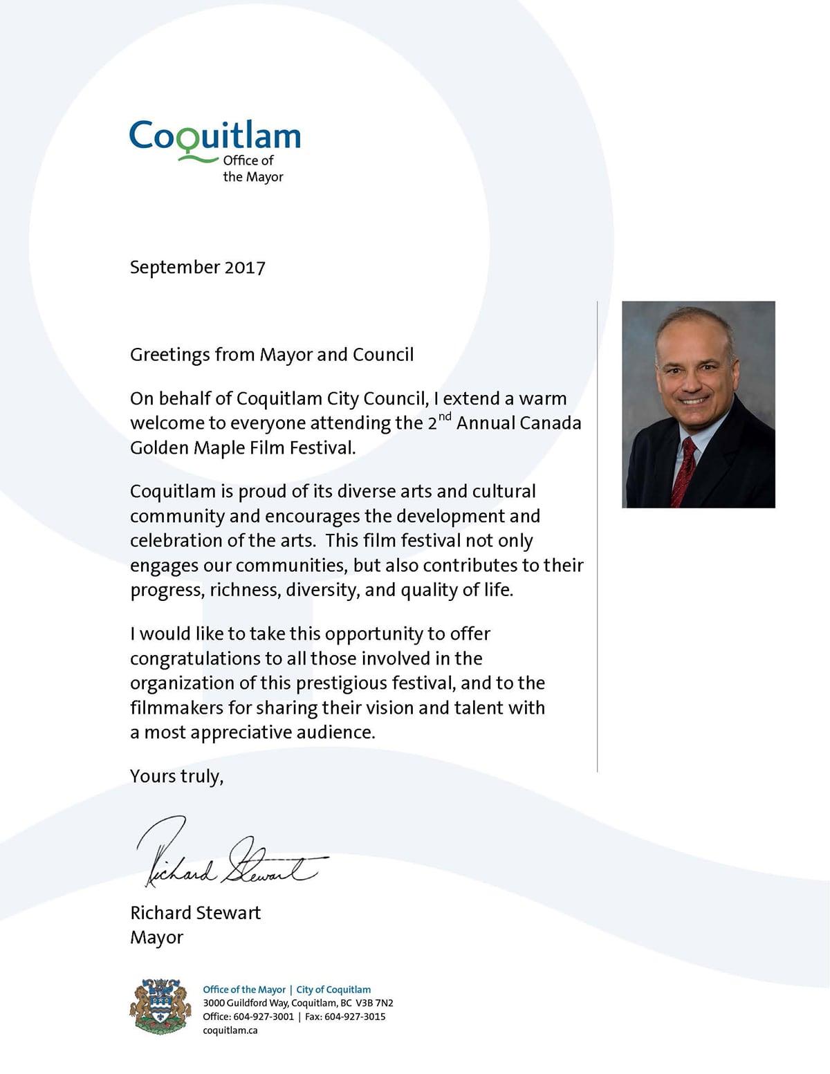 Congratulatory Letter from Richard Stewart, Mayor of Coquitlam