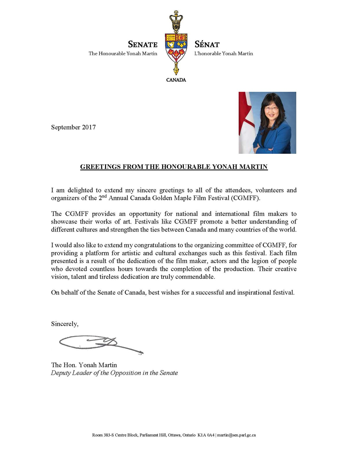Congratulatory Letter from Honorable Yonah Martin, Senator