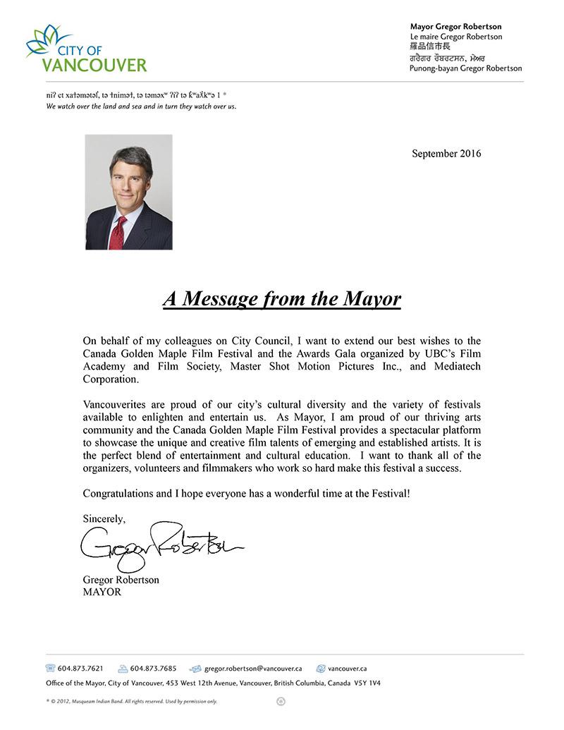 Congratulatory Letter from Gregor Robertson, Mayor
